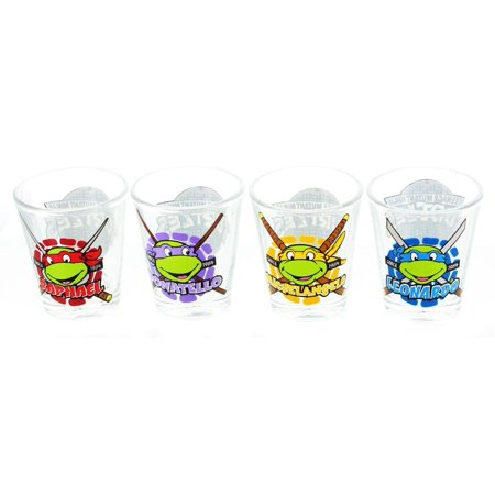 Teenage Mutant Ninja Turtles Names w/ Faces Shot Glass 4-Pack](Ninja Turtles Names And Color)