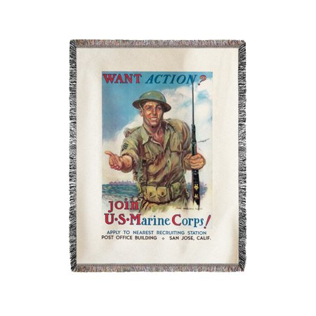 Montgomery Throw (Join the US Marine Corps! Vintage Poster (artist: Flagg, James Montgomery) USA c. 1942 (60x80 Woven Chenille Yarn Blanket))