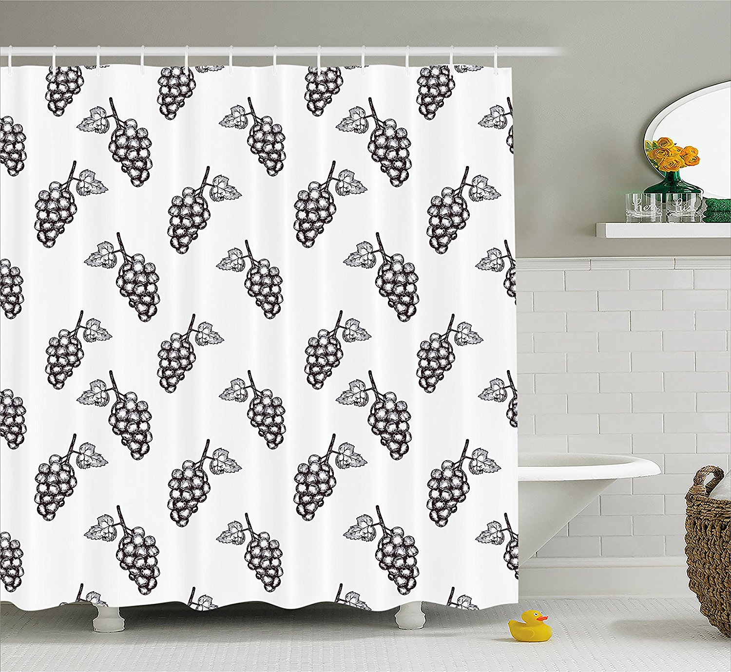 Black White Shower Curtain Sets Cat Pattern Sketchy With Hooks No Liner Needed,