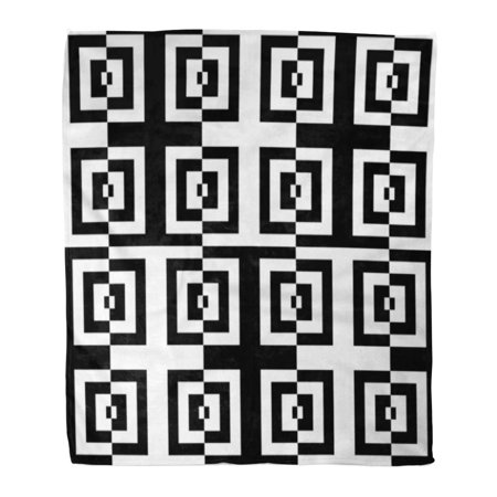 ASHLEIGH Flannel Throw Blanket Checkered Striped Black White Lines and  Checked Optical Effect Soft for Bed Sofa and Couch 58x80 Inches