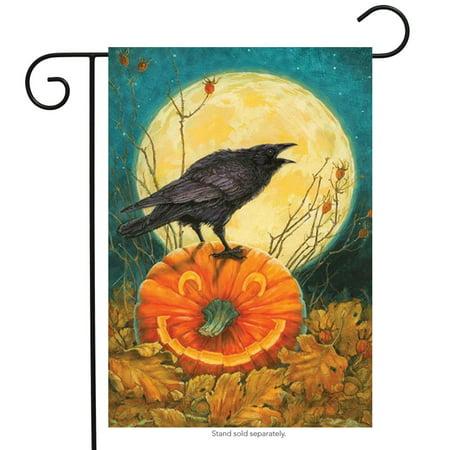 Bat Garden - Don't Get Cawwed Garden Flag Halloween Bats Full Moon Crows 12.5