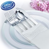 BY MADEE NEW HEAVYWEIGHT PREMIUM 200 PC SILVER PLASTIC DINNERWARE SET: Fancy Plastic Plates Cutlery Cups Napkins | Disposable Dinnerware Set | Disposable Wedding Dinnerware for 25 Guests