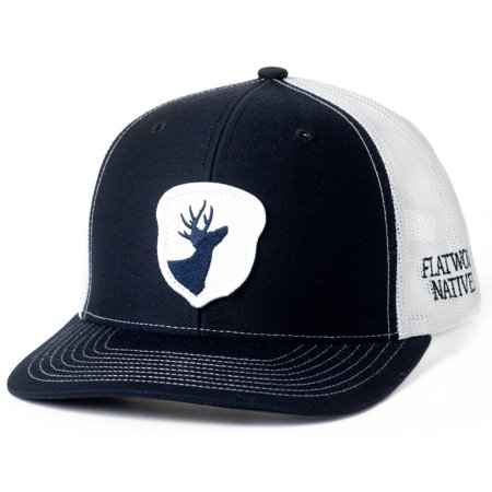 Flatwood Natives Navy and White Front Acorn Patch Trucker Style Hat