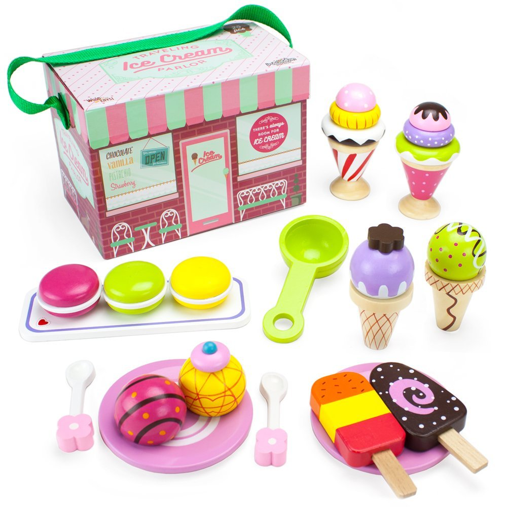 playset toy, 25pcs wooden traveling ice cream parlor kids toys playsets