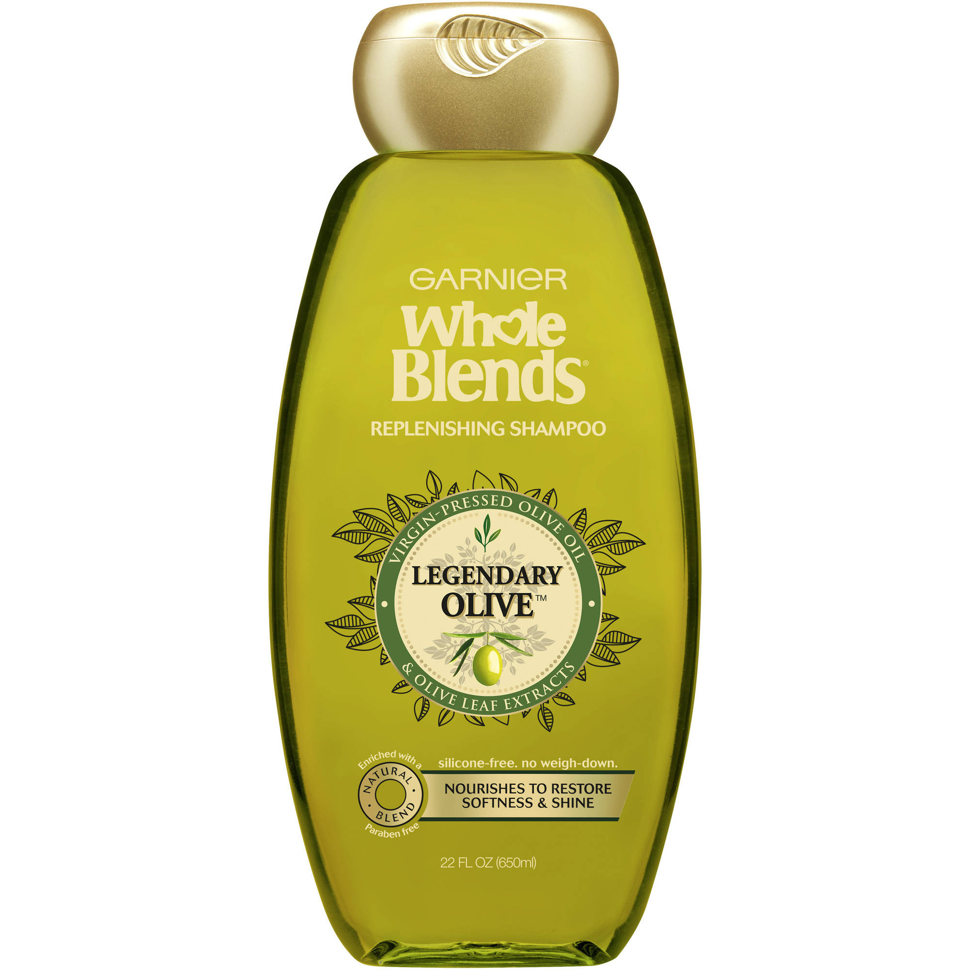 Garnier Whole Blends Replenishing Shampoo with Virgin-Pressed Olive Oil & Olive Leaf Extracts 22 FL OZ