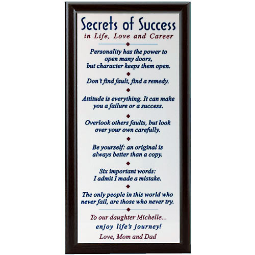 Personalized Secrets of Success Plaque
