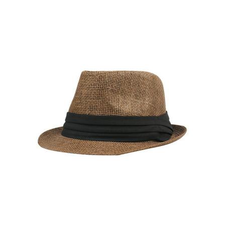Fashion Men Women Straw Hat Contrast Ribbon Fedora Curly Brim Unisex Panama Jazz Trilby Hat Cap - image 4 de 5