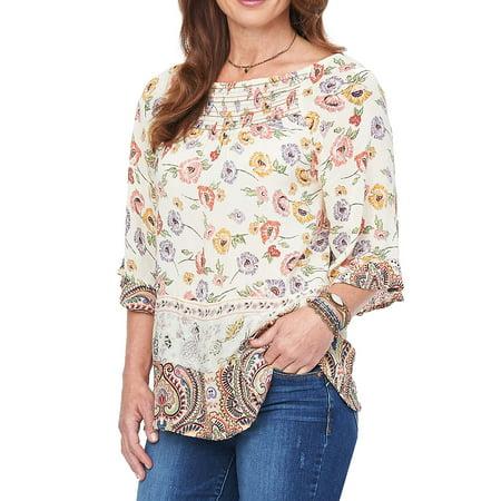 Bell-Sleeve Floral-Print Top