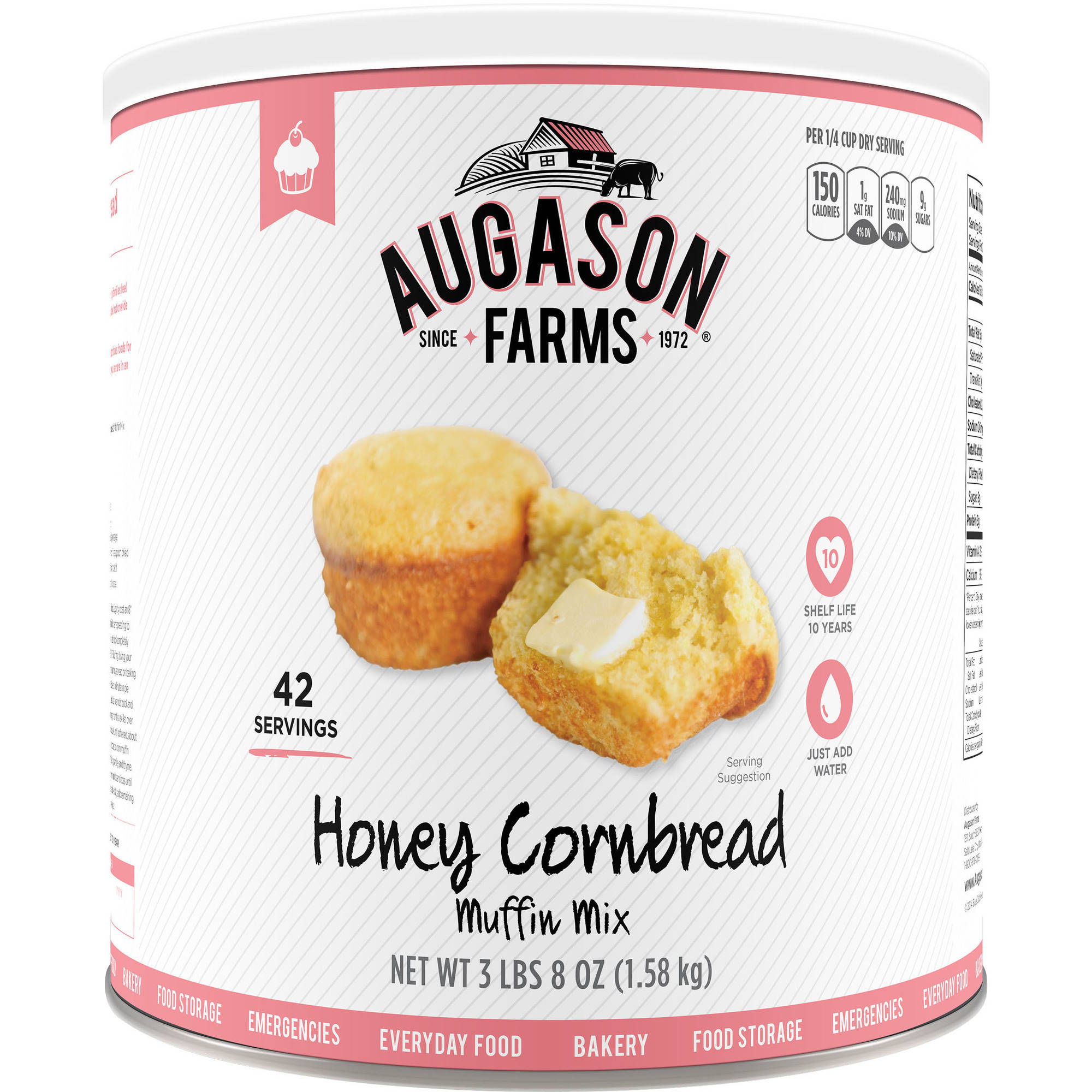 Augason Farms Honey Cornbread Muffin Mix, 72 oz