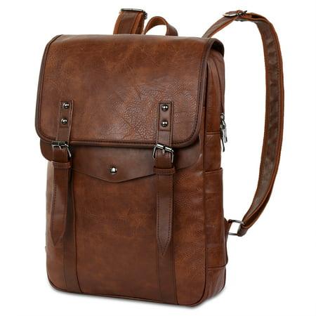 VBIGER PU Leather Backpack Vintage Laptop Backpack School College Bookbag -