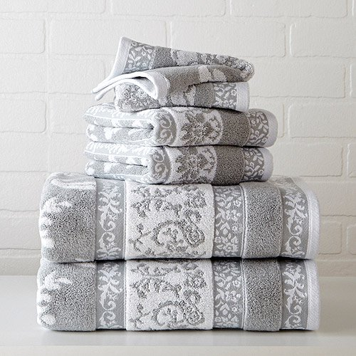 Better homes and gardens thick and plush jacquard bath collection hand towel floral soft silver for Better homes and gardens bath towels