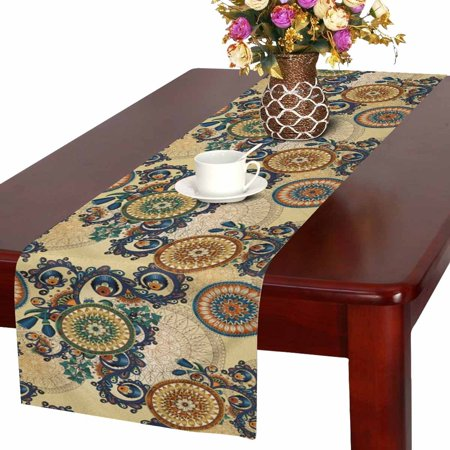 Paisley Table Runner - MKHERT Floral Arabesque Ornamental Paisley with Flowers and Cucumbers Table Runner for Office Kitchen Dining Wedding Party Banquet 16x72 Inch