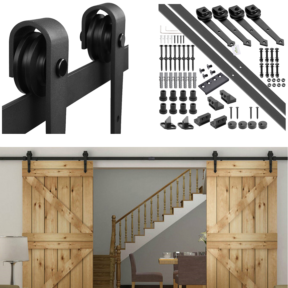 YesHom 12ft Heavy Duty Double Door Sliding Barn Wood Door Hardware Roller Track System Kit Set Arrow Shape Coffee