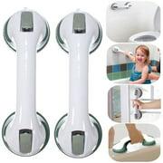 2PCS Waterproof Reusable Bathroom Safety Hand Rail Bath Grip Suction Mount Handle Shower Tub Support Grap Bar