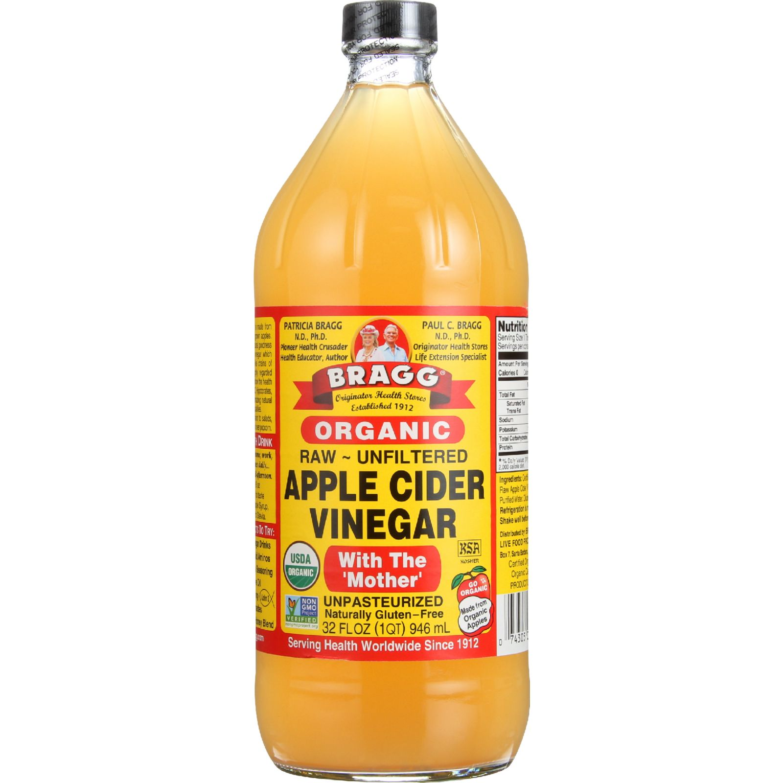 Bragg Apple Cider Vinegar Organic Raw Unfiltered 32 oz case of 12 by