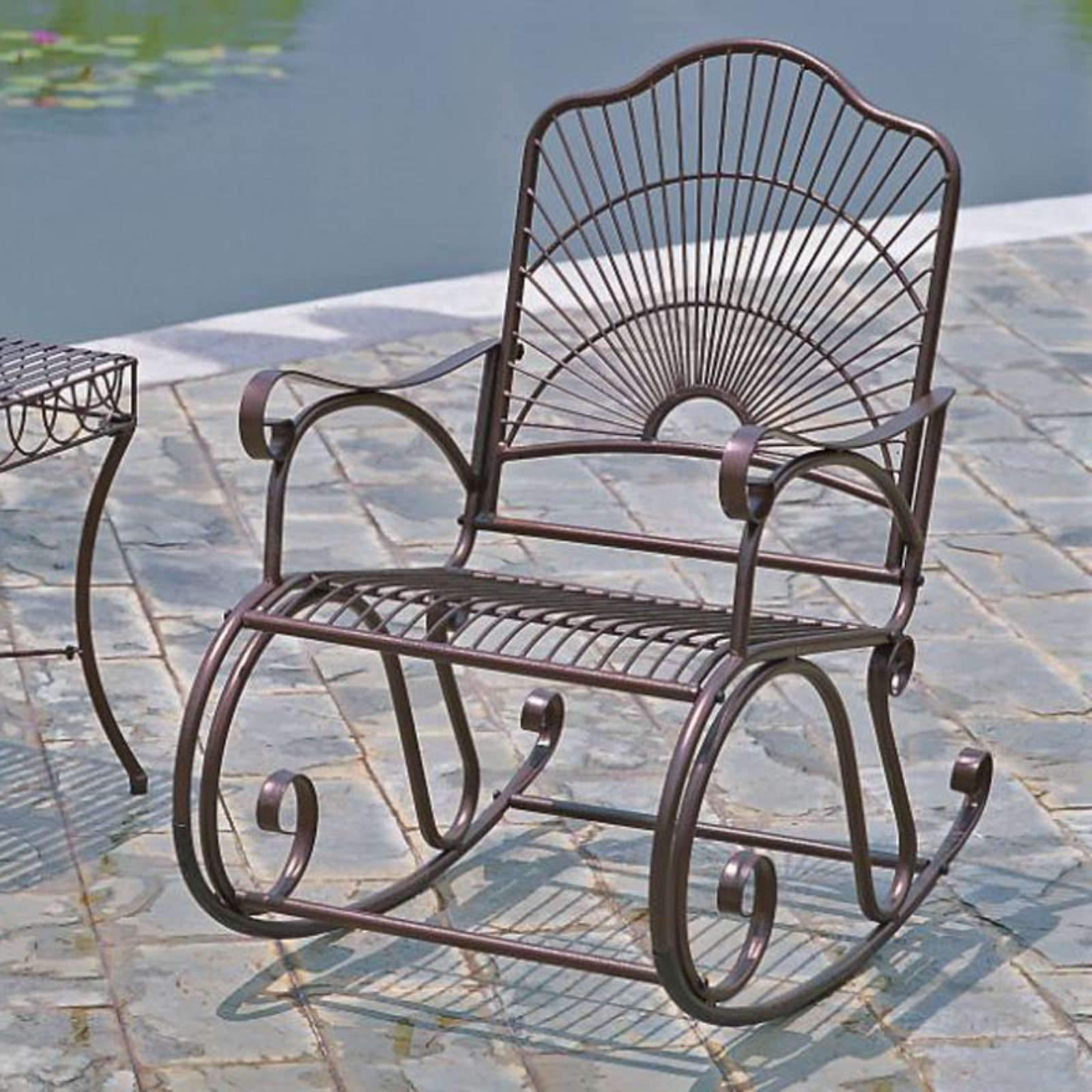International Caravan Sun Ray Iron Rocking Chair