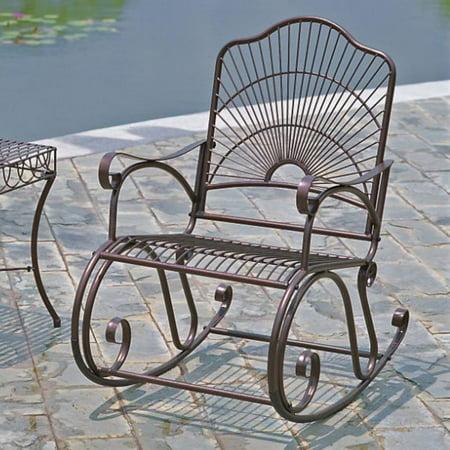 Iron Rocker - International Caravan Sun Ray Iron Rocking Chair