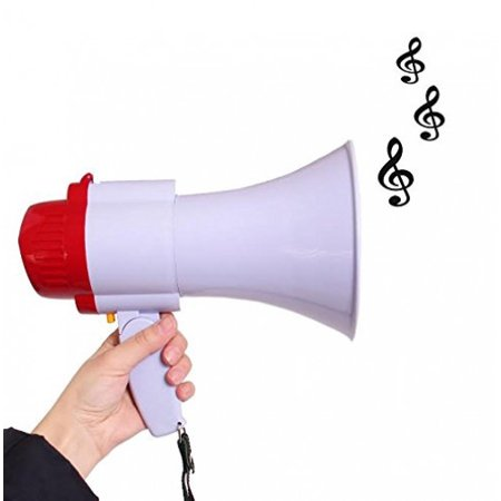 Megaphone Toy - Pretend Play Musical Bullhorn Toy with Record and Adjustable Volume Controls | Handheld Microphone Loudspeaker | Interactive Plastic Megaphone with Sirens and Music for kids Parties