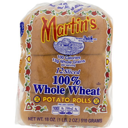Martin's Sliced Potato Rolls 100% Whole Wheat- 12pk 18oz (2