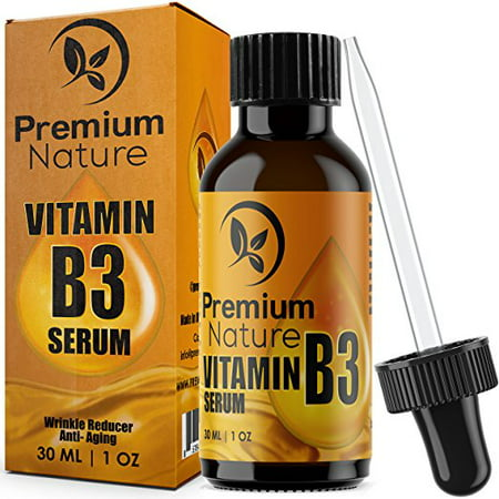 Vitamin B3 Facial Serum Moisturizing Face Cream Pore Tightener Wrinkle Reducer & Collagen Booster Antiaging for Dark Spots Breakouts Acne Fine Lines Age Spots 2.0 Limited Edition Premium Nature 1