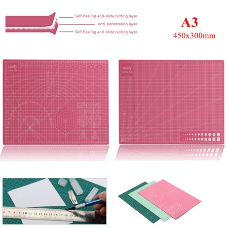 """1Pcs A3 18""""x12""""x0.1"""" Self Healing Rotary Cutting Mat Double-Sided Durable PVC Printed Grid Lines cuttingmat Leather Paper Board"""