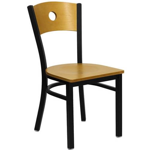 Circle Back Chairs - Set of 2, Black Metal / Natural Wood