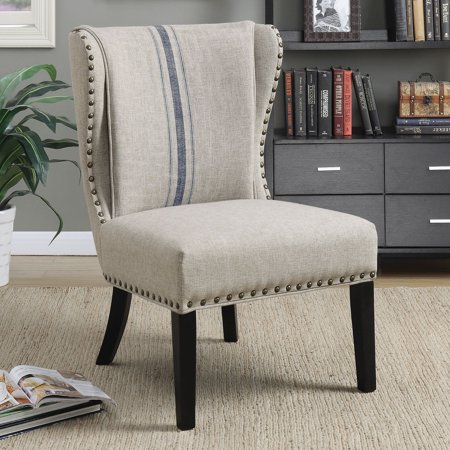 Coaster Upholstered Accent Chair with Wing Back Grey and Blue ()