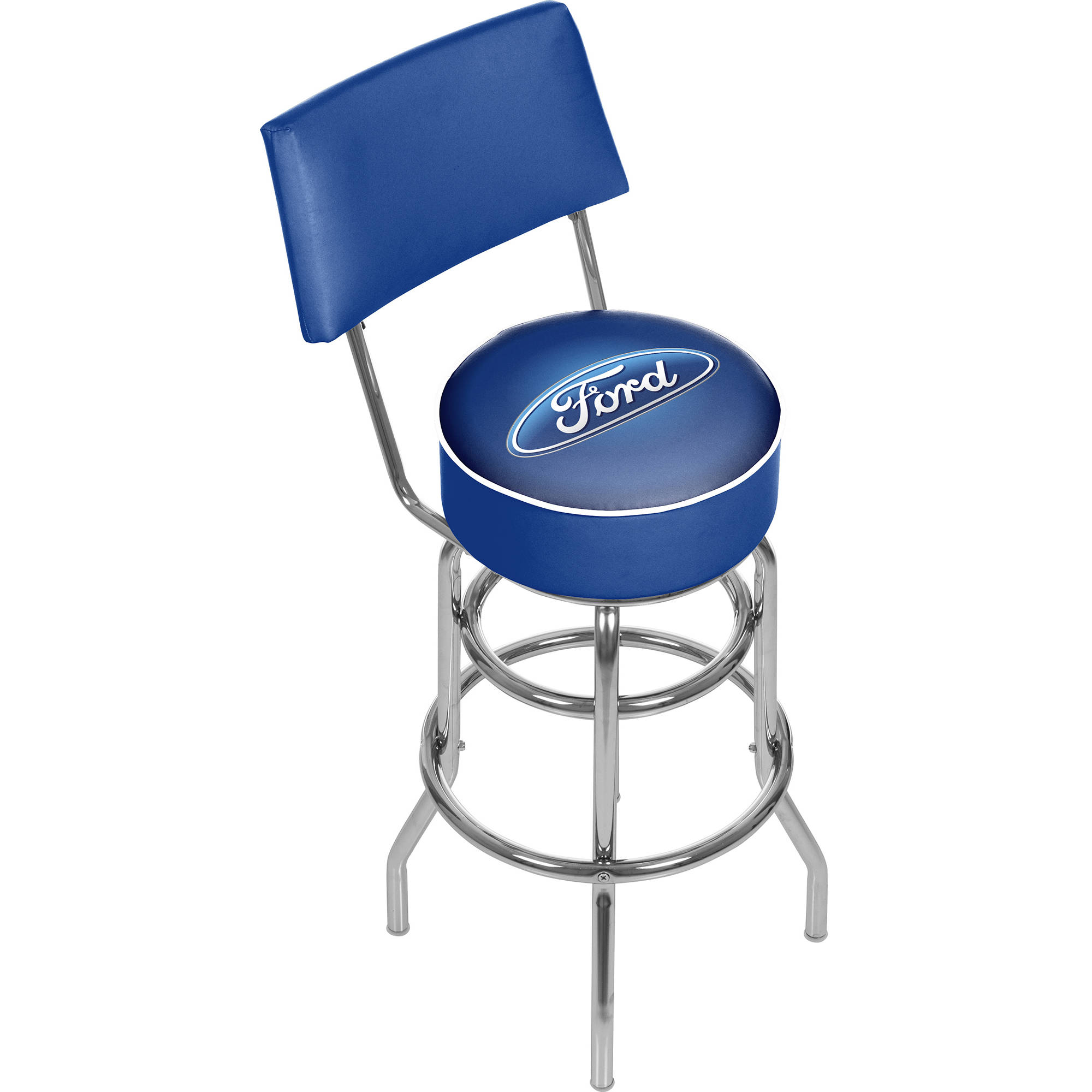Ford Swivel Bar Stool with Back, Ford Oval