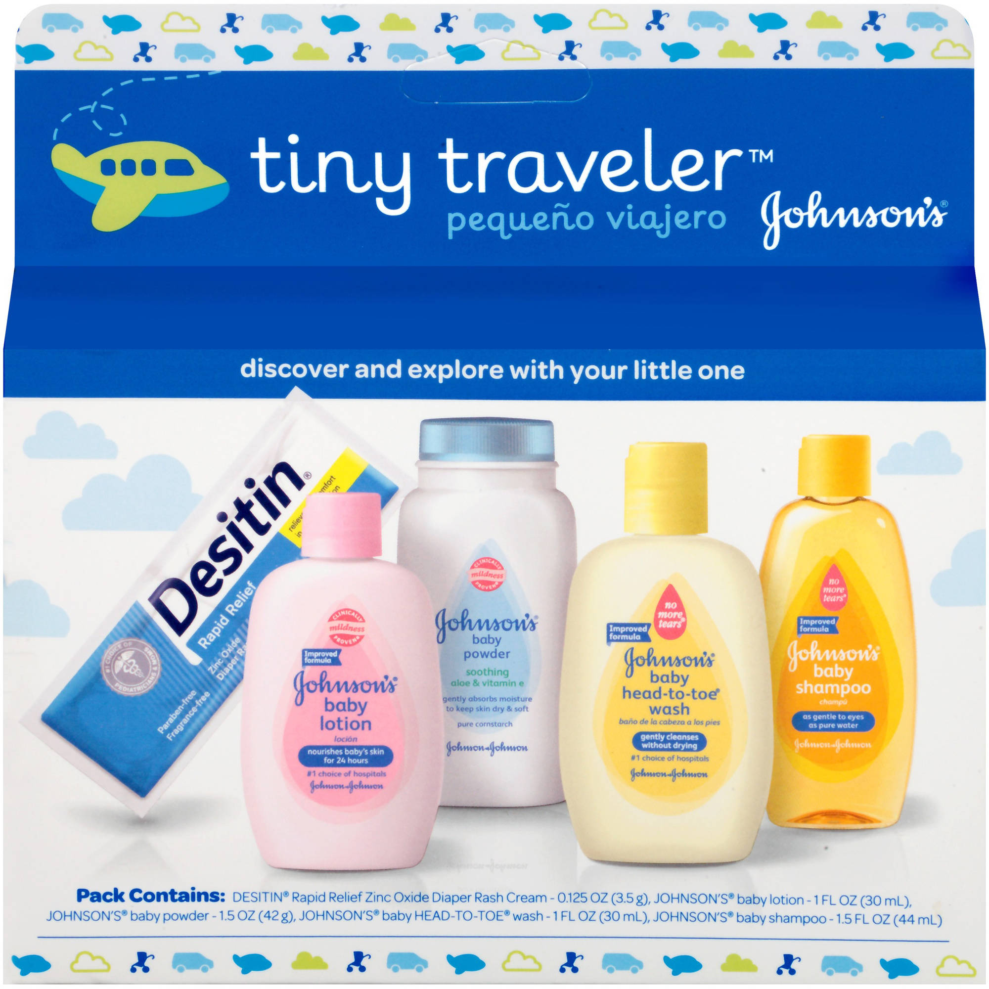Johnson's tiny traveler baby gift set, 5 Items