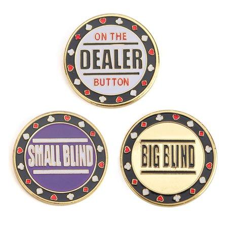 Dealer Button Set - GOGO Set of 3 Metal Chip Poker Buttons - Small Blind, Big Blind and Dealer