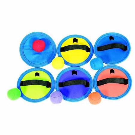 Sportime Hook-N-Loop Catch Pads and Balls, Set of 6 CatchPads and 6 Soft Balls