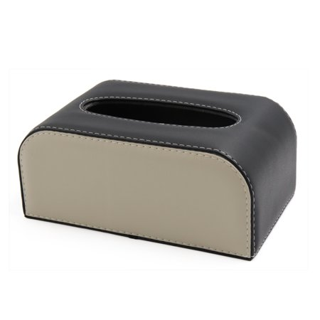 Car Black Beige Faux Leather Tissue Box Holder Napkin Storage Case Cover
