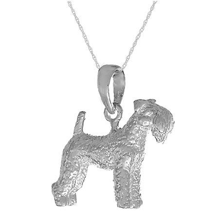 (Million Charms 925 Sterling Silver Dog Charm Pendant with Chain,  3D Kerry Blue Terrier  Textured)