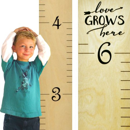 Growth Chart Art | Wooden Growth Chart Ruler for Kids | Wood Height Chart | Baby Shower Gift | Nursery Wall Decor | Love Grows Here