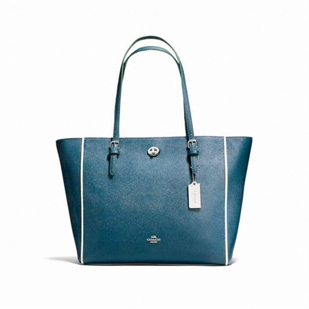 Coach Edgestain Turnlock Leather Tote Shoulder Bag Mineral Blue Leather Hobo Tote Purse