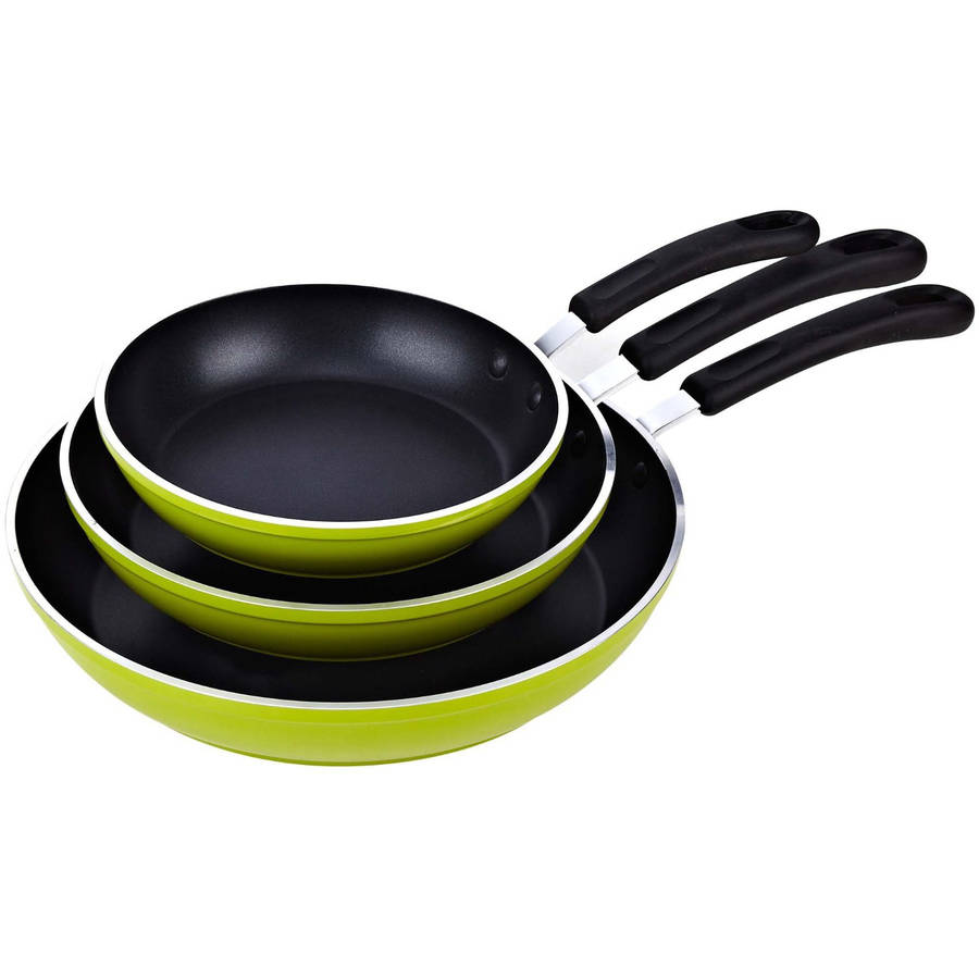 "Cook N Home 8"", 10"" and 12"" Frying Pan/Saute Pan 3-Piece Set with Non-Stick Coating Induction Compatible, Green"