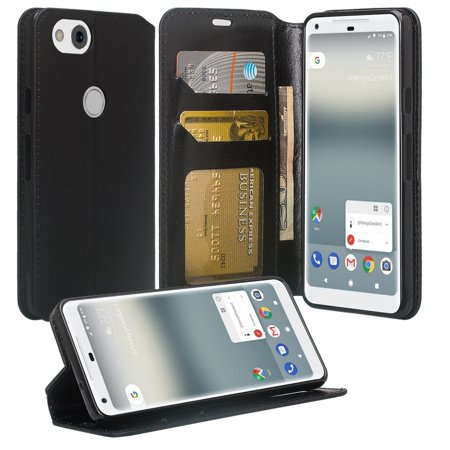 Leather Stand - Google Pixel 2 XL Case, Google Pixel XL 2 Wallet Case, Flip Folio [Kickstand] Pu Leather Wallet Case with ID&Credit Card Slot For Google Pixel 2 XL (2017 Release) - Black