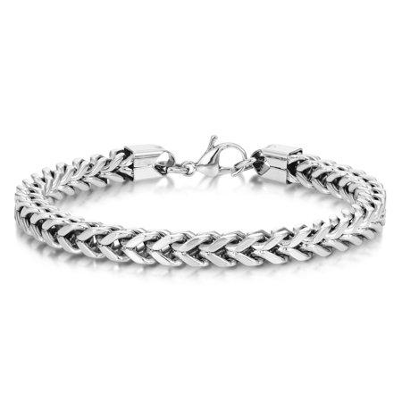 Gold Franco Chain Bracelet (Men's Stainless Steel Foxtail Chain Bracelet 6mm Franco 9 inch )