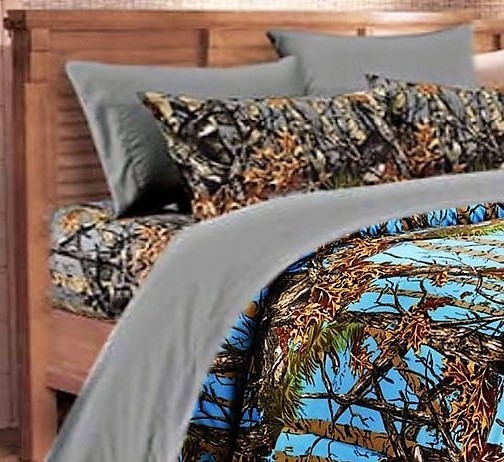 Powder Blue Camo Comforter and Gray Camo Sheet Set [Color: Forest/Gray,Size: Twin]