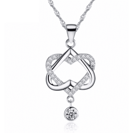 ON SALE - Interlocked Heart Drop CZ Pendant Necklace -