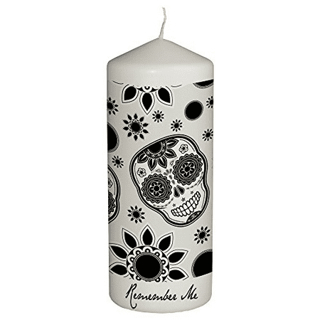Hat Shark Remember Me Celebration Candle for Day of the Dead - Dia De Los Muertos - Printed in Full Color 6 Inches Tall (Black and White) (Day Of The Dead Candles)
