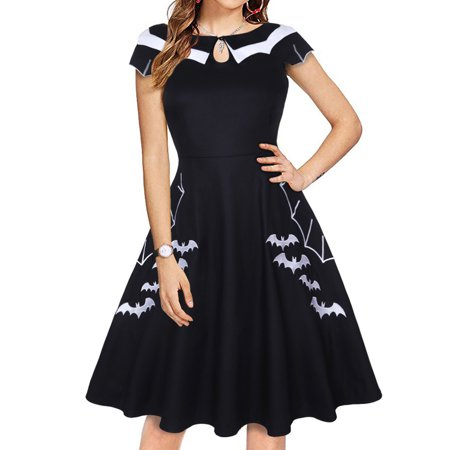 Ladies Halloween Fancy Dress Plus Sizes (Women Vintage Retro Short Sleeve Halloween Bat Print Skater Dress Evening Party Mini Swing Dress Plus Size)