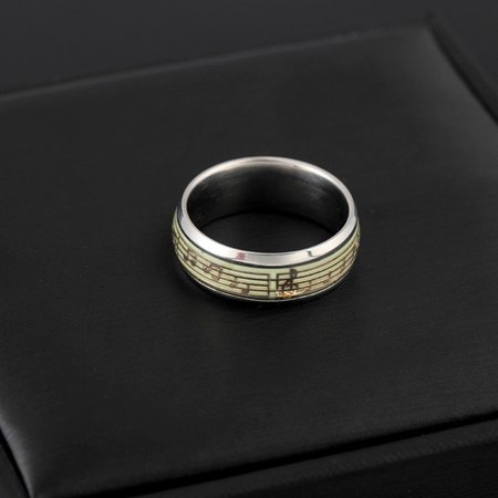 Glow In the Dark Love Couple Ring Stainless Steel Luminous Rings for Couples - image 4 de 6