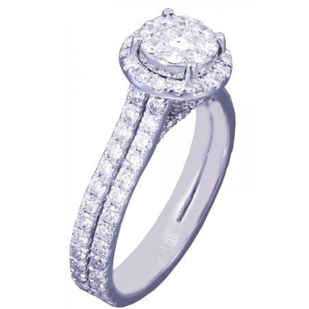 Art Deco Diamond Engagement Ring - 14k White Gold Round Cut Diamond Engagement Ring Art Deco Prong Set 1.39ctw