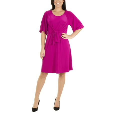 Women's Petite Raglan Elbow Sleeve Dress