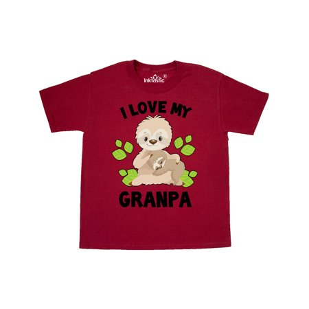 Cute Sloth I Love My Granpa with Green Leaves Youth T-Shirt