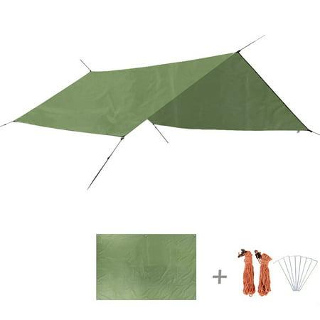 TRIWONDER Waterproof Hammock Rain Fly Ground Cloth Tent Tarp Footprint Camping Shelter Sunshade Beach Picnic Mat for Camping Hiking Green+Accessories L - 94.5 x 86.6in ()