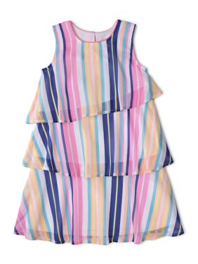 Wonder Nation Girls' 4-18 & Plus Layered Chiffon Ruffle Dress
