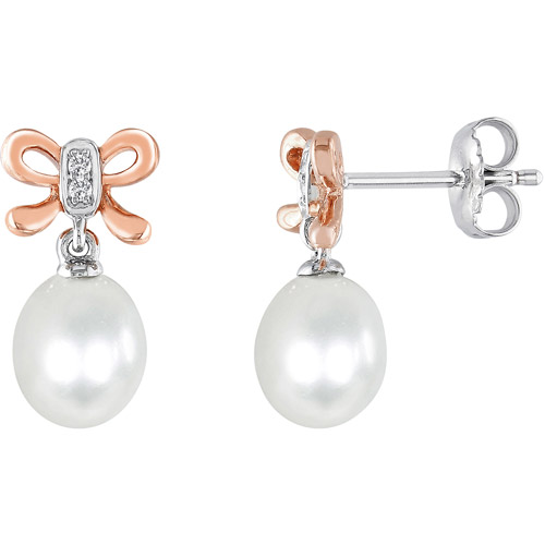 Miabella 6.5-7mm White Cultured Freshwater Pearl and Diamond-Accent Pink-Plated Sterling Silver Earrings