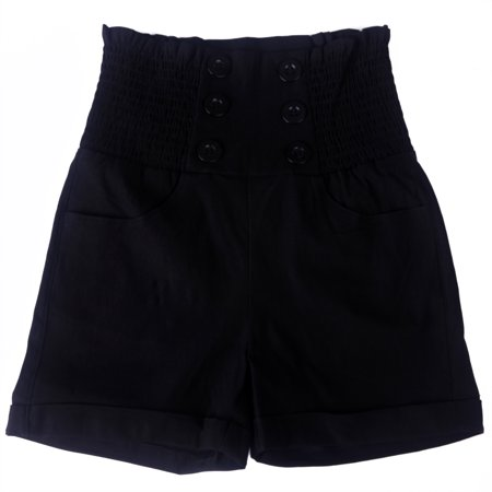 Black Ruffle Shorts (HDE Women's Vintage High Waisted Sailor Shorts Front Button Pin Up Stretch Waist (Black,)
